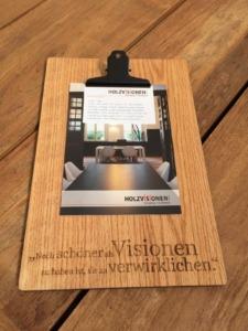 Holzvisionen Akquise-Aktion Step 2 (Klemmbrett und Folder)